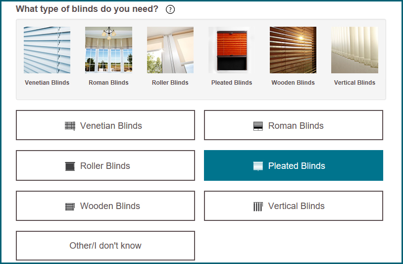Select type of blinds